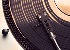 Top view of old fashioned turntable playing a track Royalty Free Stock Photos