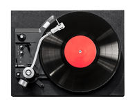 Top view of old fashioned turntable playing Royalty Free Stock Photos
