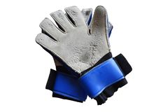 Top view old goalkeeper gloves and dilapidated, isolated on white background with clipping path stock photography