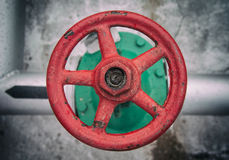 Top view on old handwheel of valve Stock Images