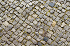 Top view of old, historical cobblestone road Stock Photo