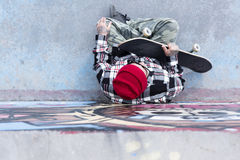 Top view of an old man skater Royalty Free Stock Photo