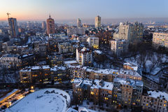 Top view of old and new buildings in the center of Kiev, Ukraine at evening in winter Royalty Free Stock Photos