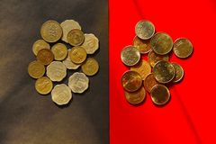 Top view of old and new Indian coins currency.  Royalty Free Stock Photography