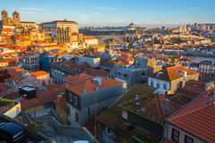 Top view of old Porto downtown. Royalty Free Stock Images