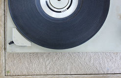 Top view of old record player. Royalty Free Stock Images