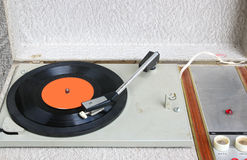 Top view of old record player. Stock Photo