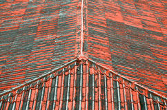 The top view of old red roof Royalty Free Stock Photos