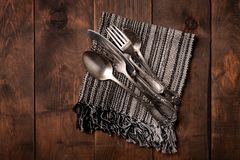 Top view of old silver cutlery stock image