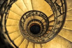 Top view of old spiral staircase. Top view of the old spiral staircase Royalty Free Stock Photos