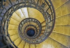Top view of old spiral stairs. Top view of the old spiral stairs Royalty Free Stock Photography