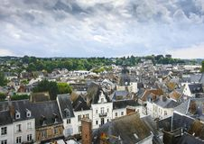 Top view of the old town of Amboise royalty free stock photos