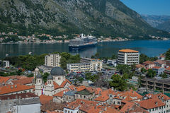 Top view of the old town and the bay of Kotor Montenegro Stock Images