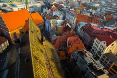 Top view on the old town with beautiful colorful buildings in Riga, Latvia royalty free stock photo