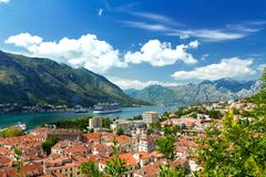 Top view of the old town and big ship in Kotor, Montenegro Stock Photography