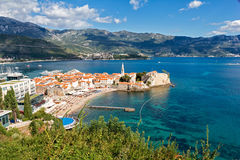 Top view of the old town in Budva, Montenegro Stock Photo