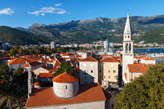 Top view of the old town in Budva, Montenegro Royalty Free Stock Photo