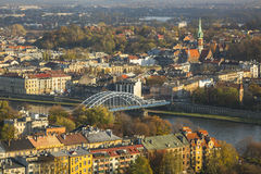 Top view of the old town of Cracow (Krakow) Royalty Free Stock Photography
