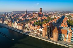 Top view of an old town in Gdansk, Poland. stock images