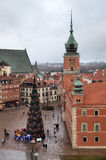 Top view of Old Town Square with New Year tree near Royal Castle. Warsaw Royalty Free Stock Photo