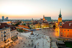 Top view of the old town in Warsaw Stock Image