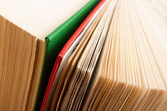 Top view of old used colorful hardback books. Back to school. royalty free stock image
