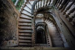 Top view of old vintage decorated staircase in abandoned mansion royalty free stock photos