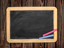 Top view of old vintage wooden blackboard Royalty Free Stock Image