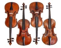 Old violins collection Stock Photos