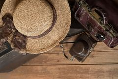 Summer vacation and travel retro style background Stock Photo