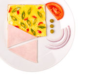 Top view of omelet with pepper and green onions isolated Stock Photos