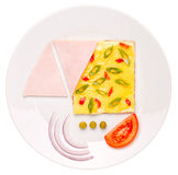 Top view of omelet with pepper and green onions isolated Stock Images