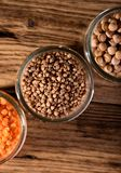 Top View On Glass Full Of Buckwheat And Other Legumes Stock Photography