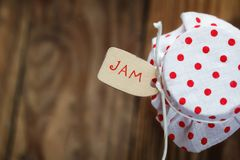 Free Top View On Jar Of Jam With Strawberry  And Noties On Wood Background Stock Photos - 56059343