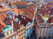 Top view on one of ancient streets of Prague Stock Image