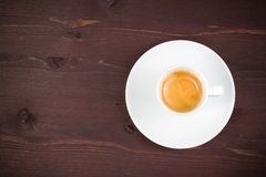 Top of view of one cup of italian espresso coffee Royalty Free Stock Image