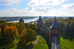 Top view from one of towers of the Kremlin in Veliky Novgorod at sunny autumn day, Russia royalty free stock photo