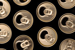 Top view of open, aluminum cans for beer or juice Stock Photos