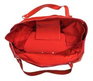 Top view of open empty red travelling bag isolated. On white background Stock Image