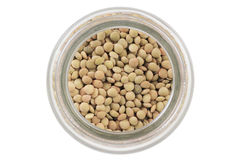 Top view of open glass jar with lentils Royalty Free Stock Photography