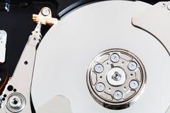 Top view of open internal sata hard disk drive. Top view of open internal 3.5-inch sata hard disk drive close up Stock Photo
