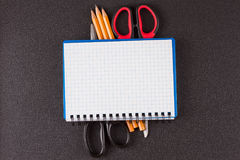 Top view of open spiral blank notebook Stock Images
