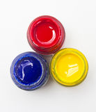 Top View Of Opened Bottles Of Primary Color. Stock Photos