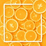 Top view of orange fruit pattern with frame template background.flat lay royalty free stock images