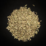 Top view of Organic Fennel seed. Top view of Organic Fennel seed (Foeniculum Vulgare) isolated on dark background stock photo