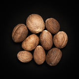 Top view of Organic Nutmeg Seed. Stock Images