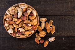 Top View Of Organic Raw Nuts Mix Of Pistachios, Almonds, Walnuts Royalty Free Stock Photos