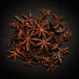 Top view of Organic Star anise. Royalty Free Stock Image