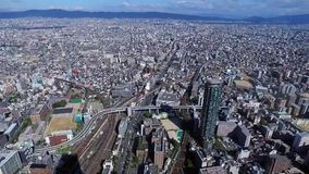 Top view of osaka city stock video