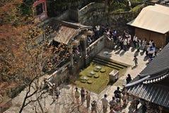 Top view of Otowa-no-taki waterfall at Kiyomizu temple, Japan Royalty Free Stock Photo